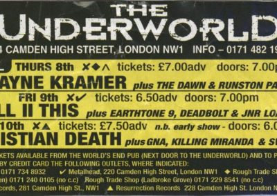 Promo poster of the London gig, Christian Death European tour. 1998.