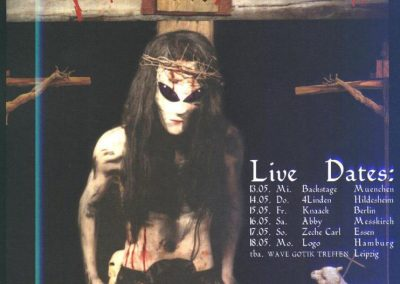 "Promo flyer of just the German dates during an 11-country Christian Death ""Pornographic Messiah"" European tour. 1999."